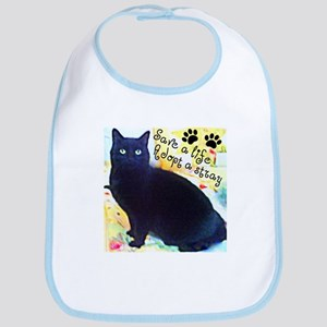 Stray Black Kitty Bib